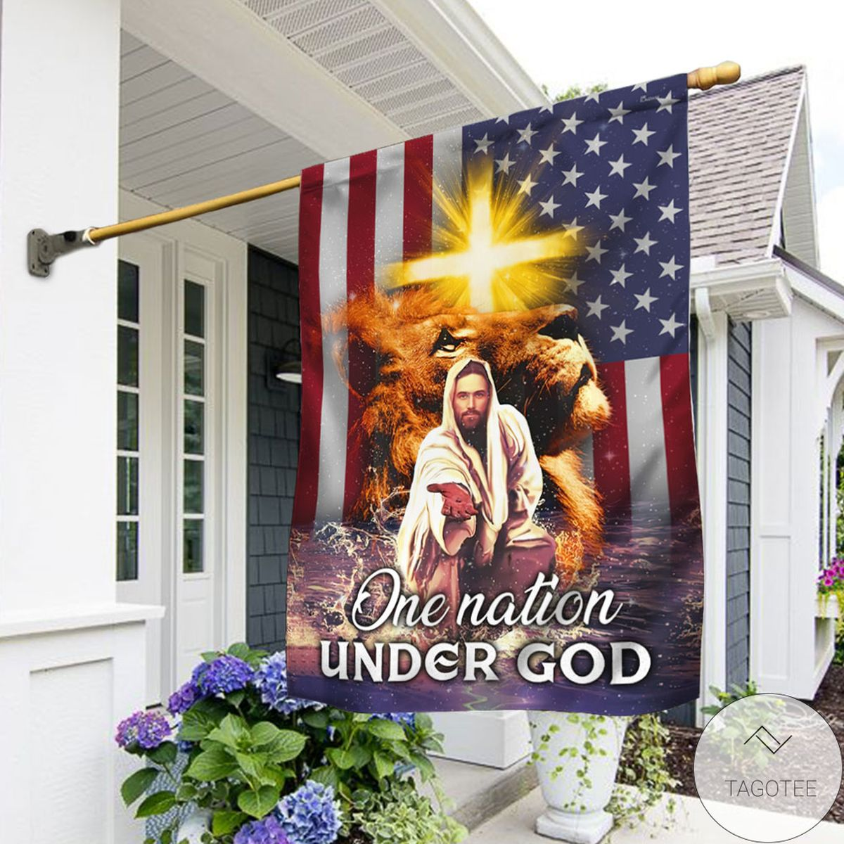 Jesus Christ One Nation Under God Flag