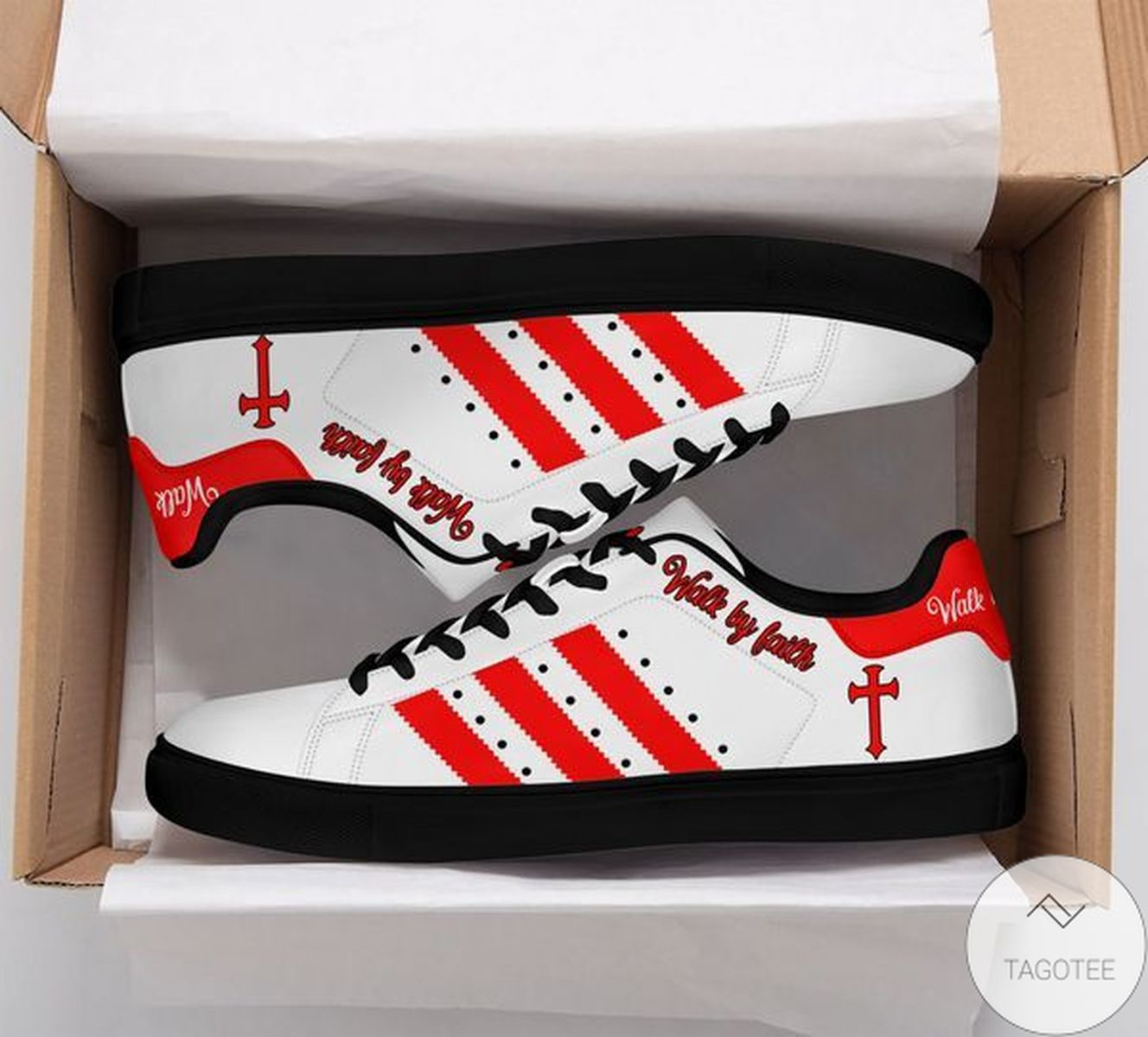 Jesus Cross Walk By Faith Red Stan Smith Shoes