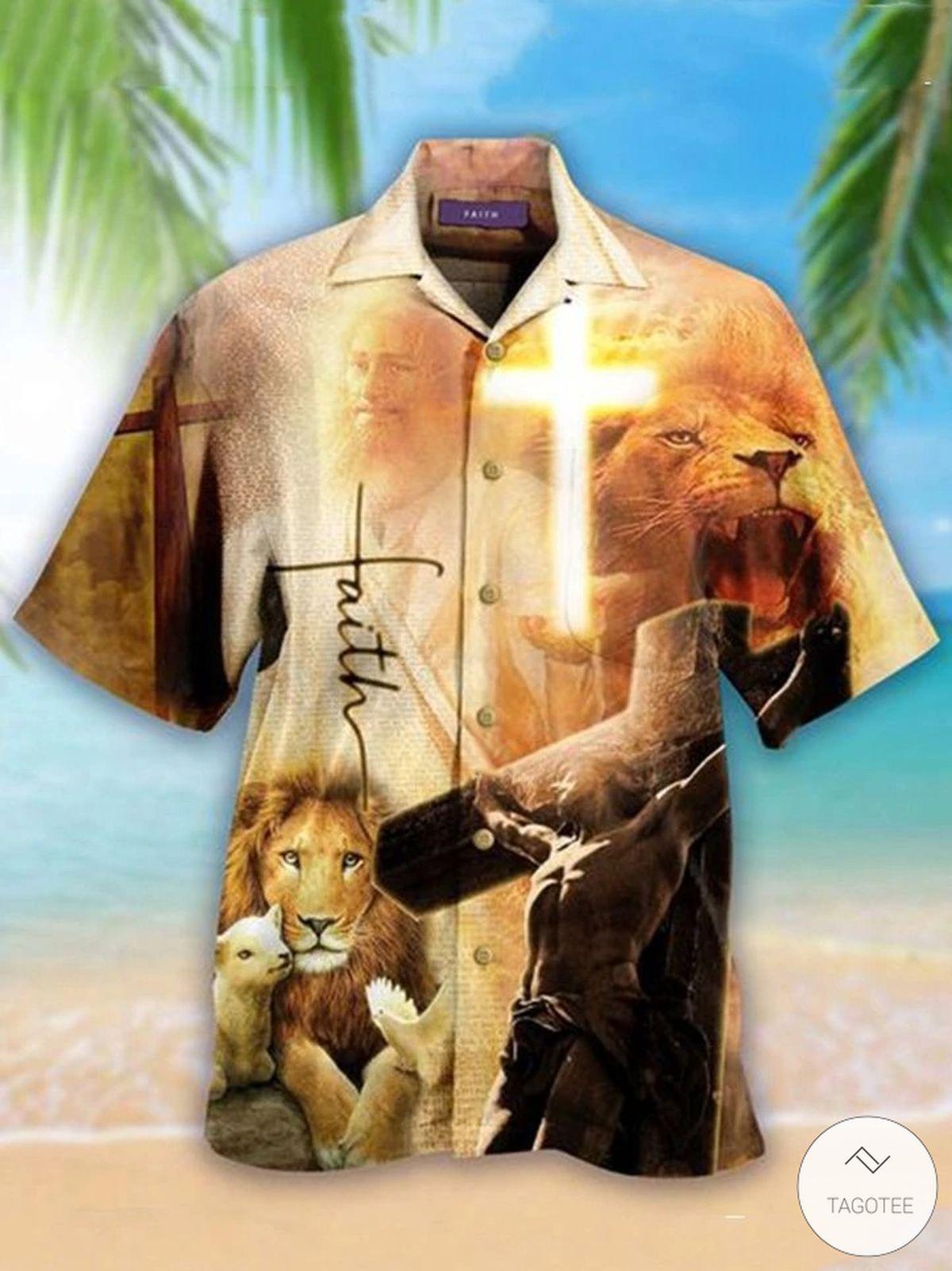 Jesus Faith Hope Love Lion Lamp Hawaiian Shirt