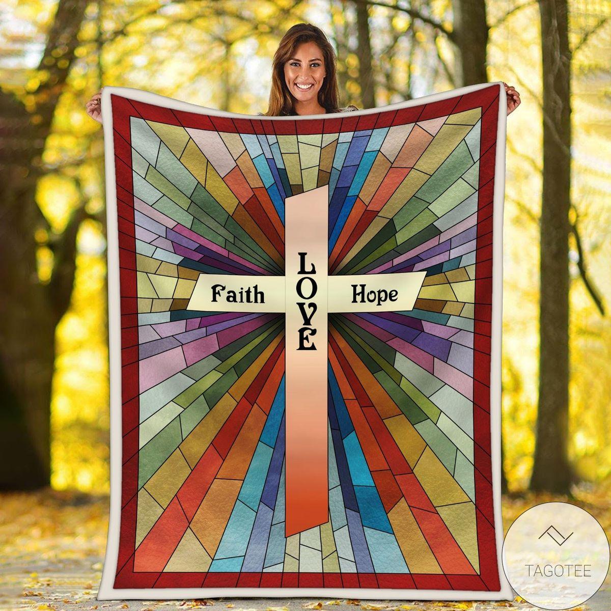Vibrant Jesus Faith Love Hope Blanket
