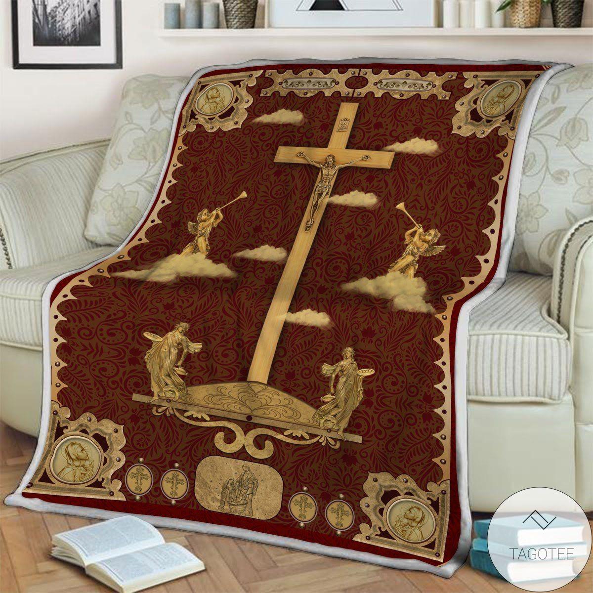 Jesus Golden Red Blanket