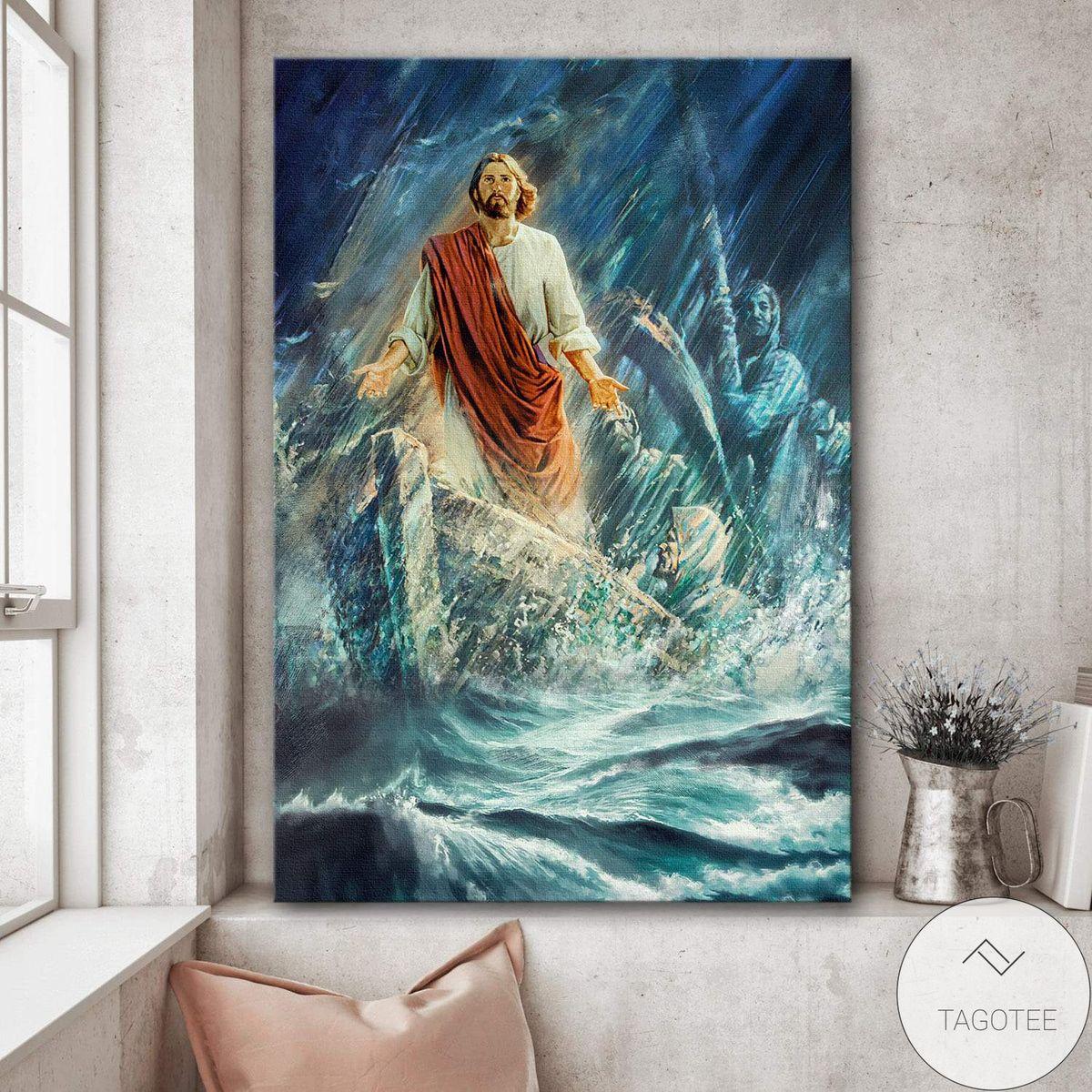 Jesus In The Ocean Storm Jesus Canvas