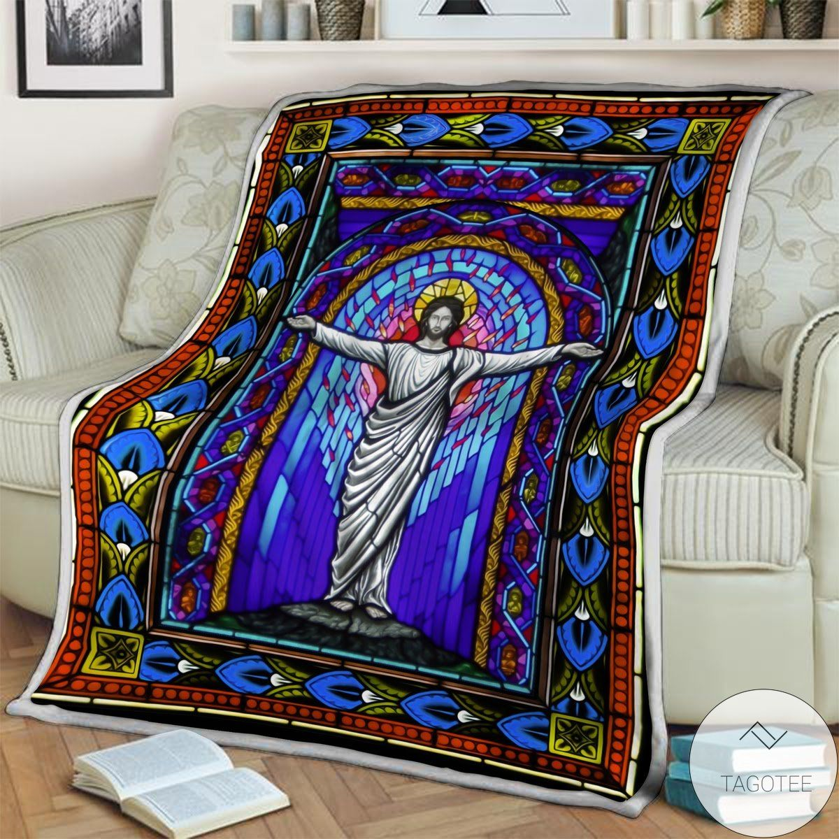 Jesus Stained Glass Blanket