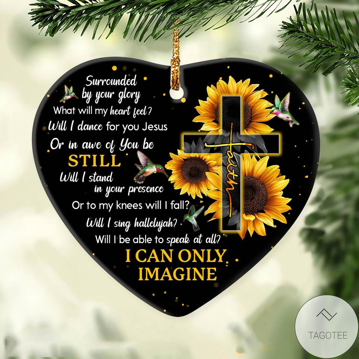 Beautiful Jesus Sunflower And Cross I Can Only Imagine Heart Ceramic Ornament