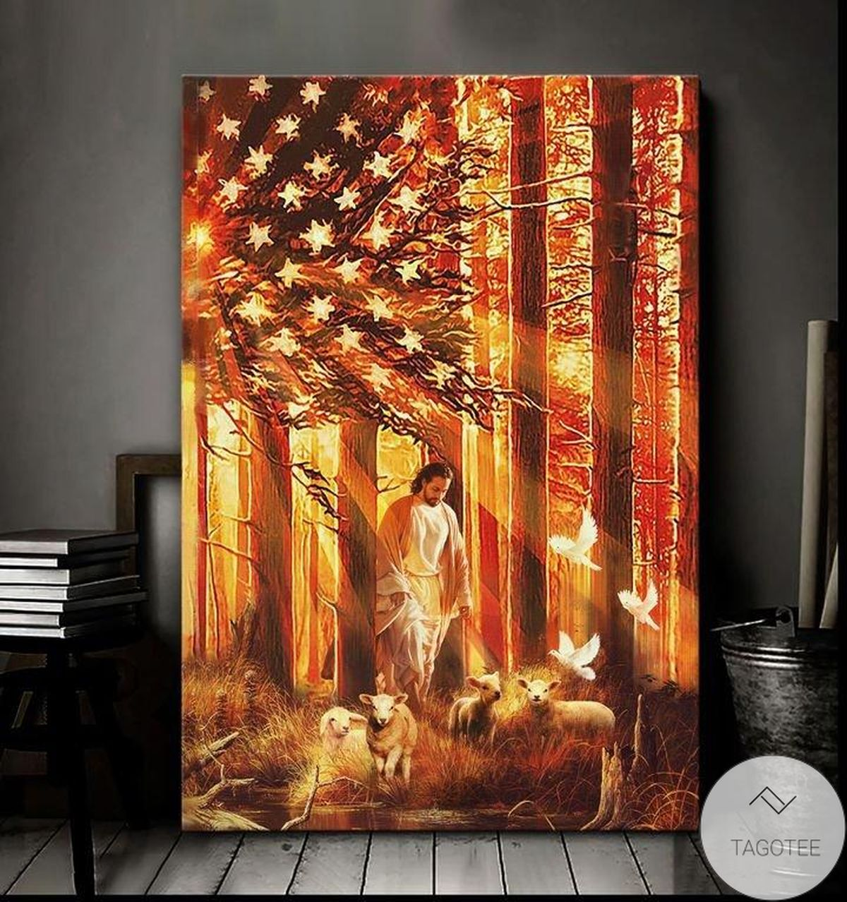 Jesus Walking With The Lambs Canvas