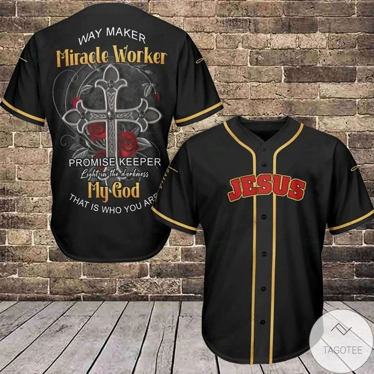 Jesus Way Maker Miracle Worker Baseball Jersey
