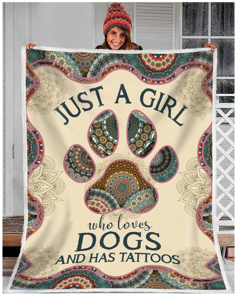 Just a girl who loves dogs and has tattoos fleece blanket 2