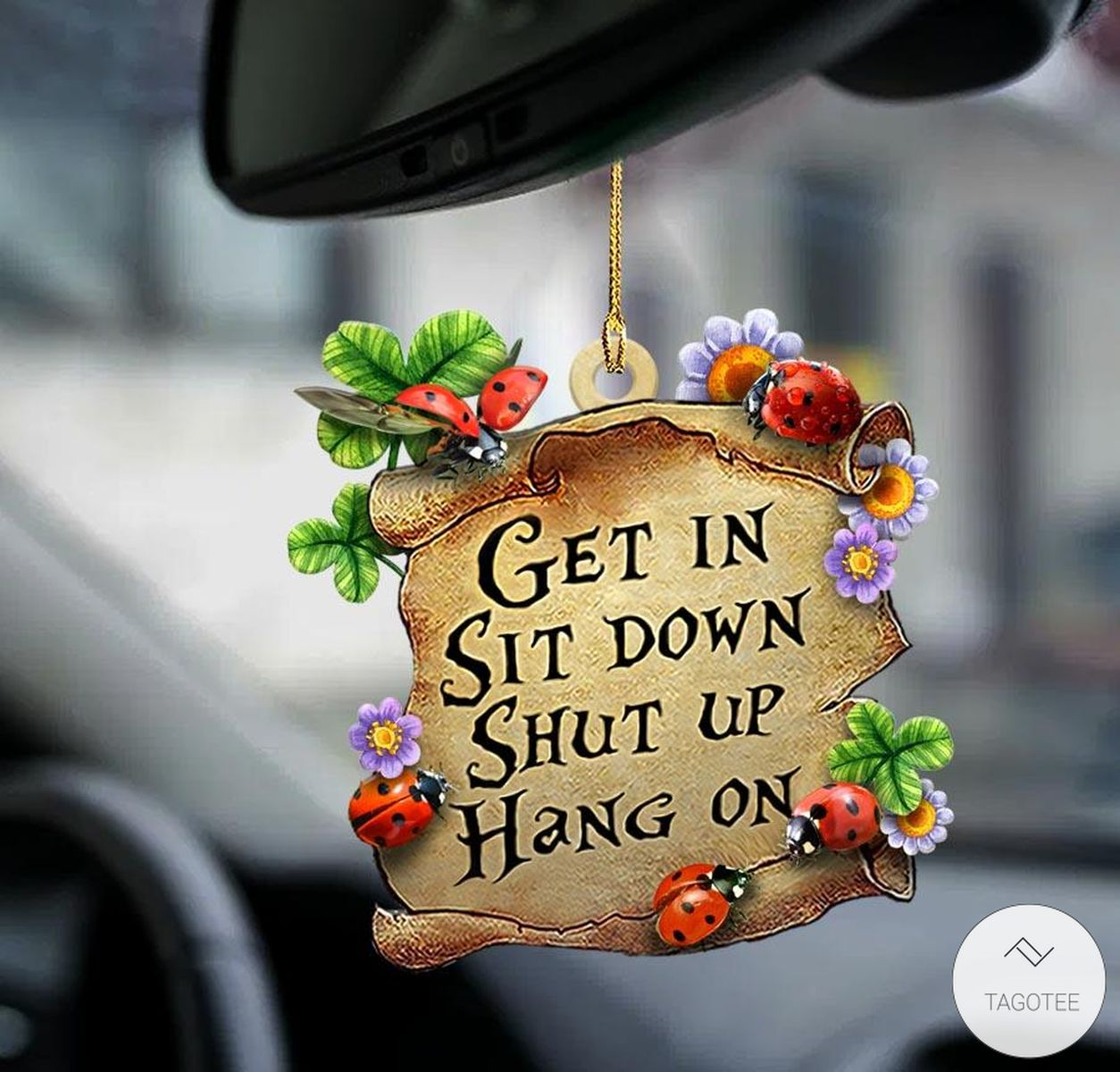 Ladybugs Get In Sit Down Shut Up Hang On Mica Plastic Car Hanging Ornament
