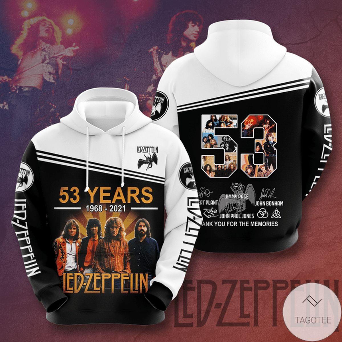 Led Zeppelin 53 Years 1968-2021 3d Hoodie
