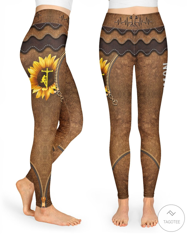 Lineman Sunflower As Leather High Waist Leggings