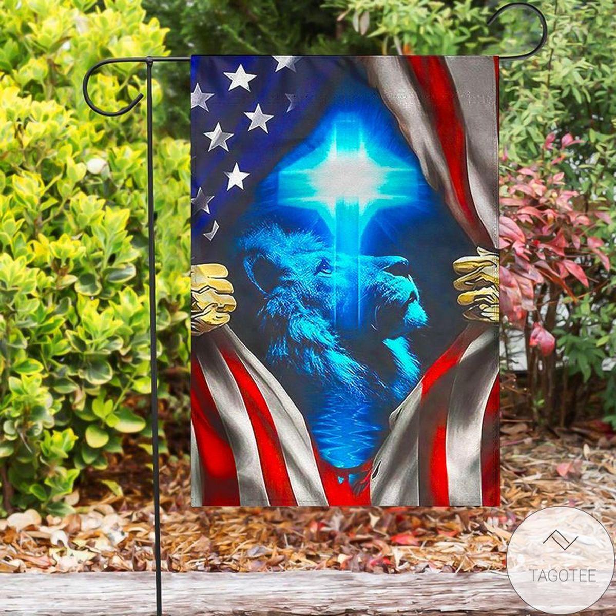 Lion Jesus Cross Us Flag
