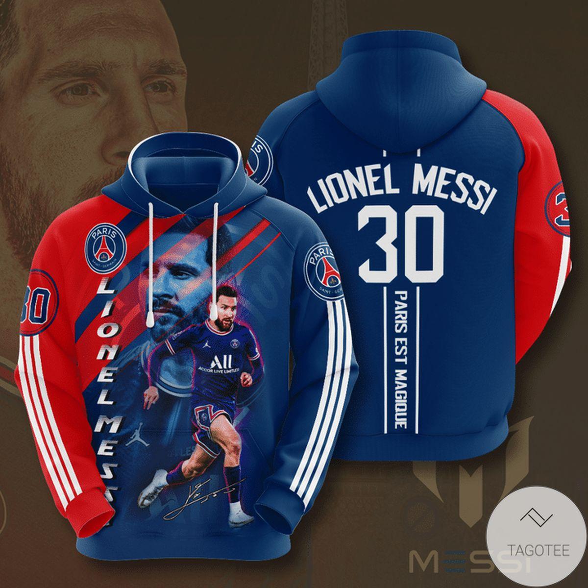 Lionel Messi 30 Paris Saint Germain 3d Hoodie