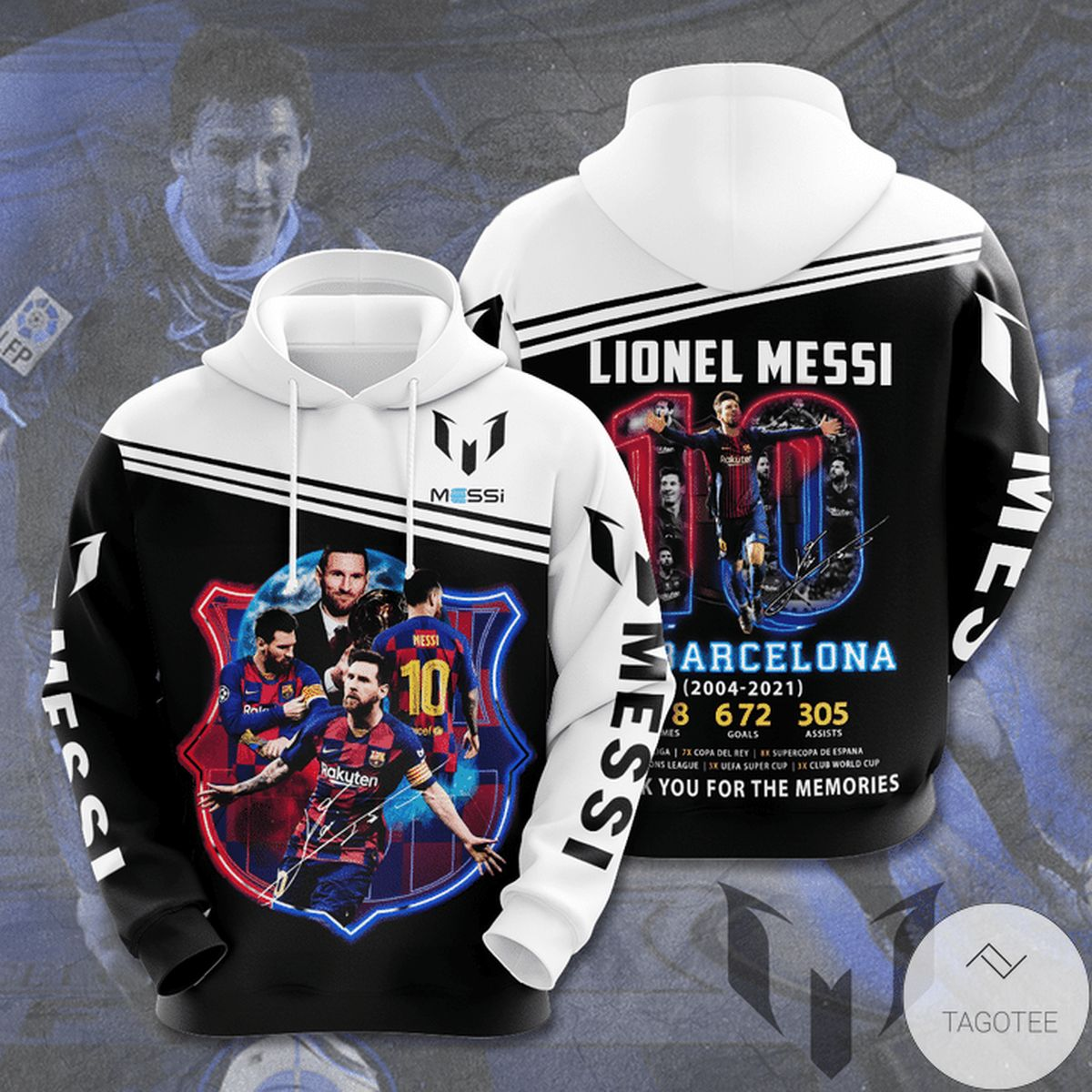 Lionel Messi Barcelona 10 Thank You For The Memories 3d Hoodie