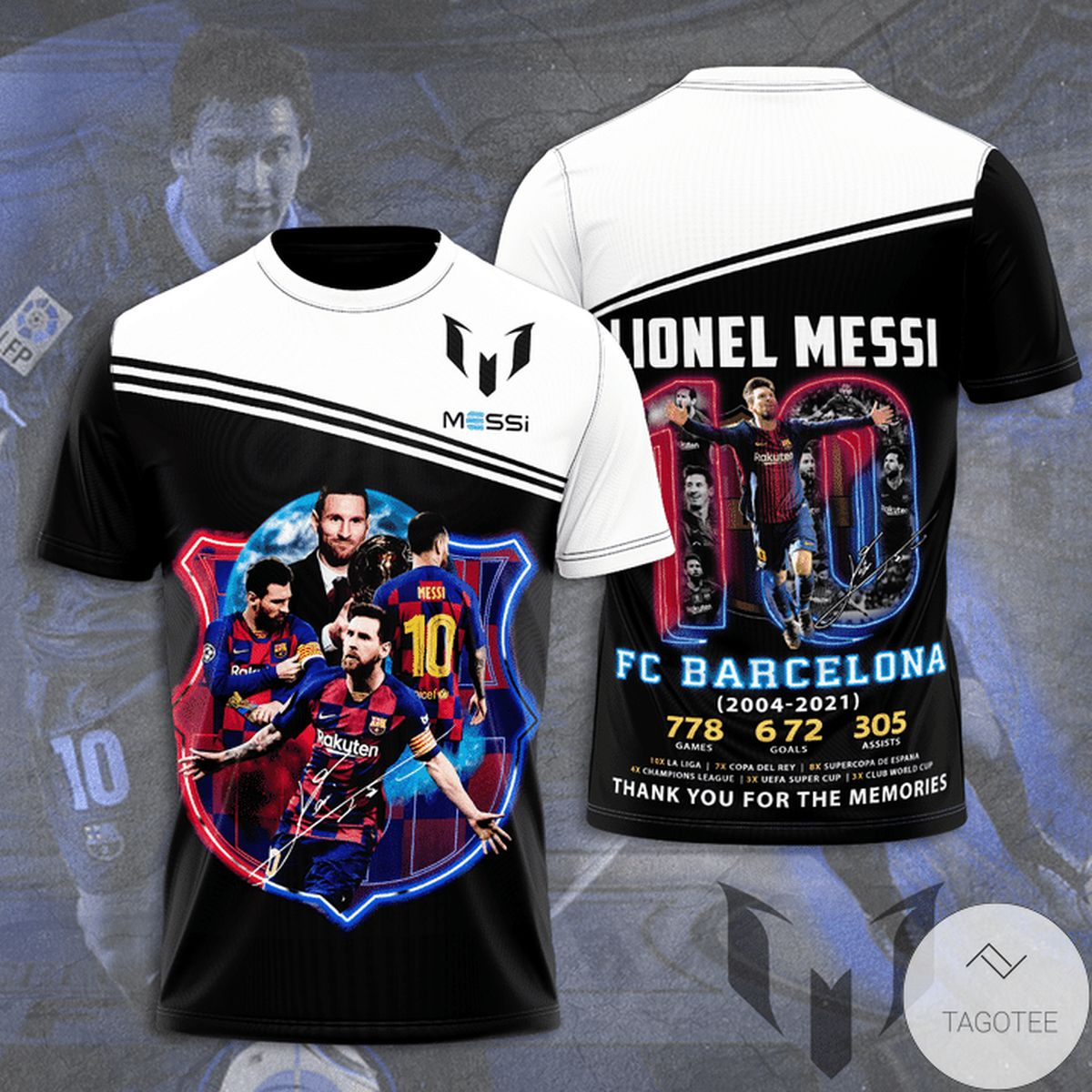 Lionel Messi Barcelona 2004-2021 Thank You For The Memories 3d Shirt