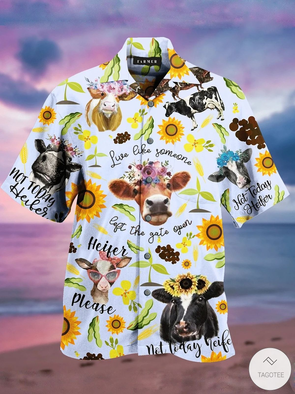 Live Like Someone Left The Gate Open Heifer Hawaiian Shirt