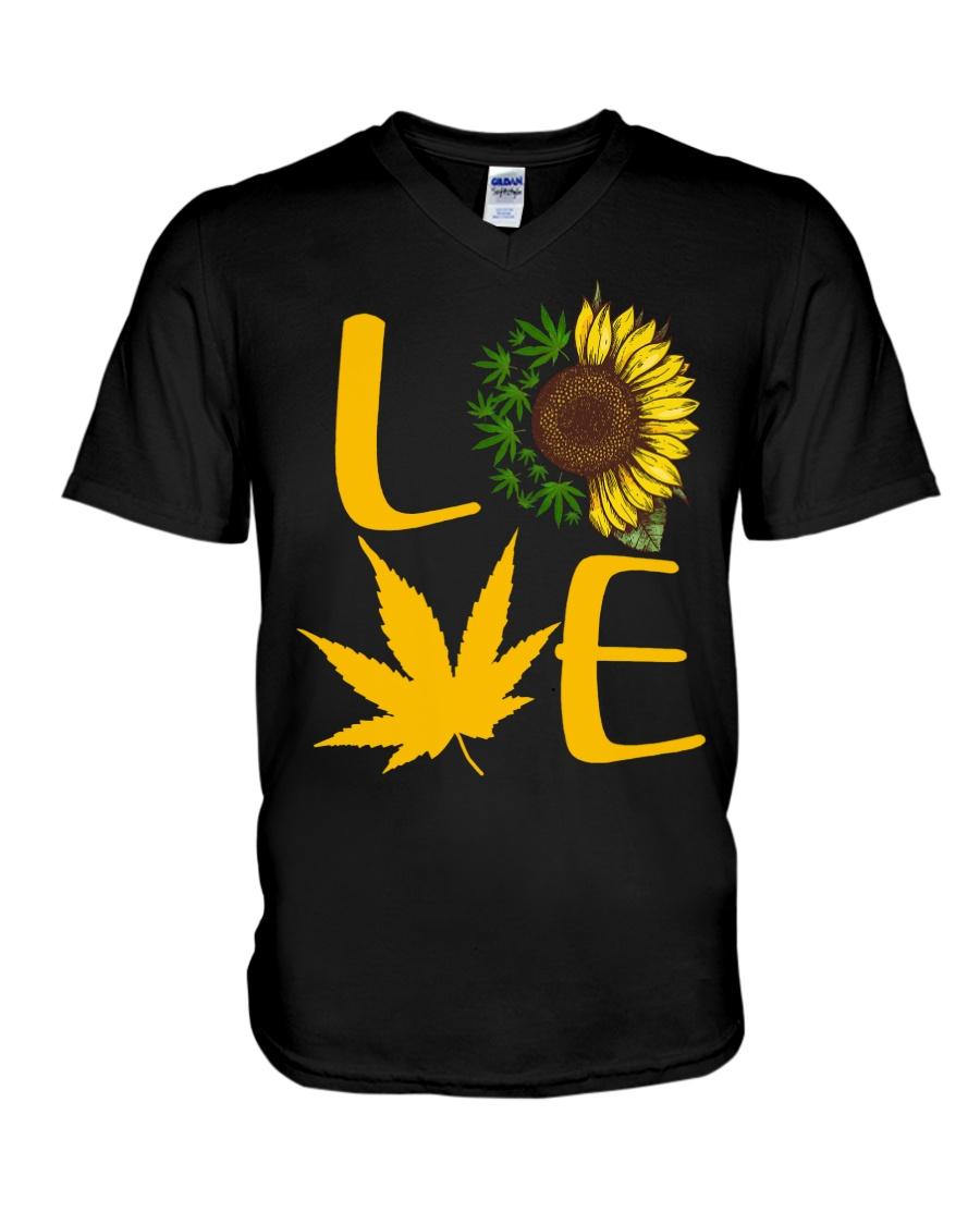 Love Cannabis Sunflower Weed v-neck