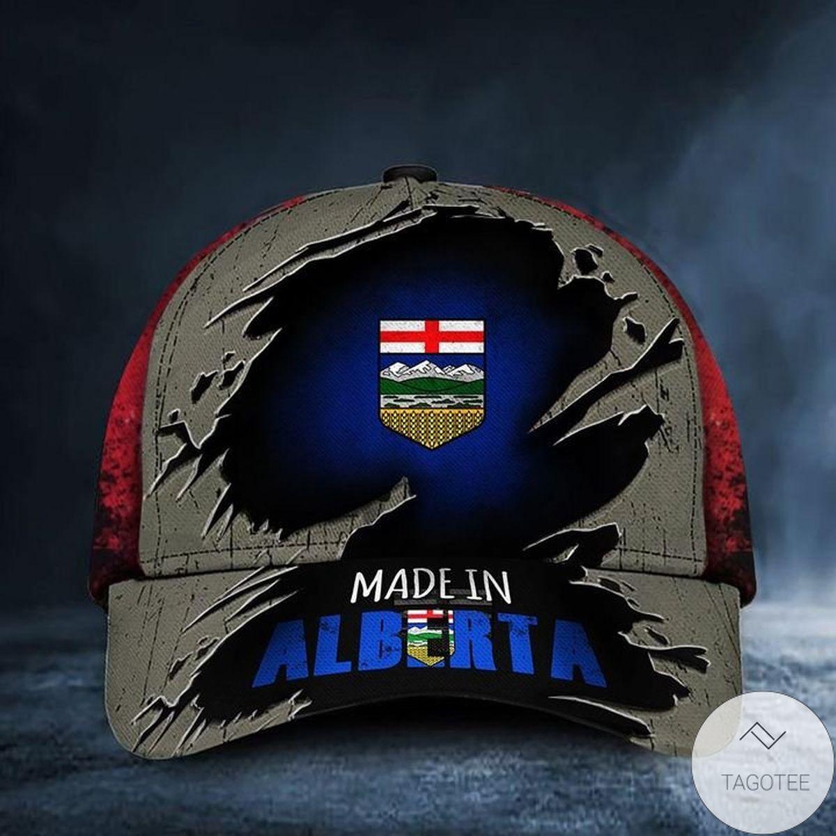 Made In Alberta Canada Flag Hat Old Retro Patriotic Proud From Alberta Province Man Cap