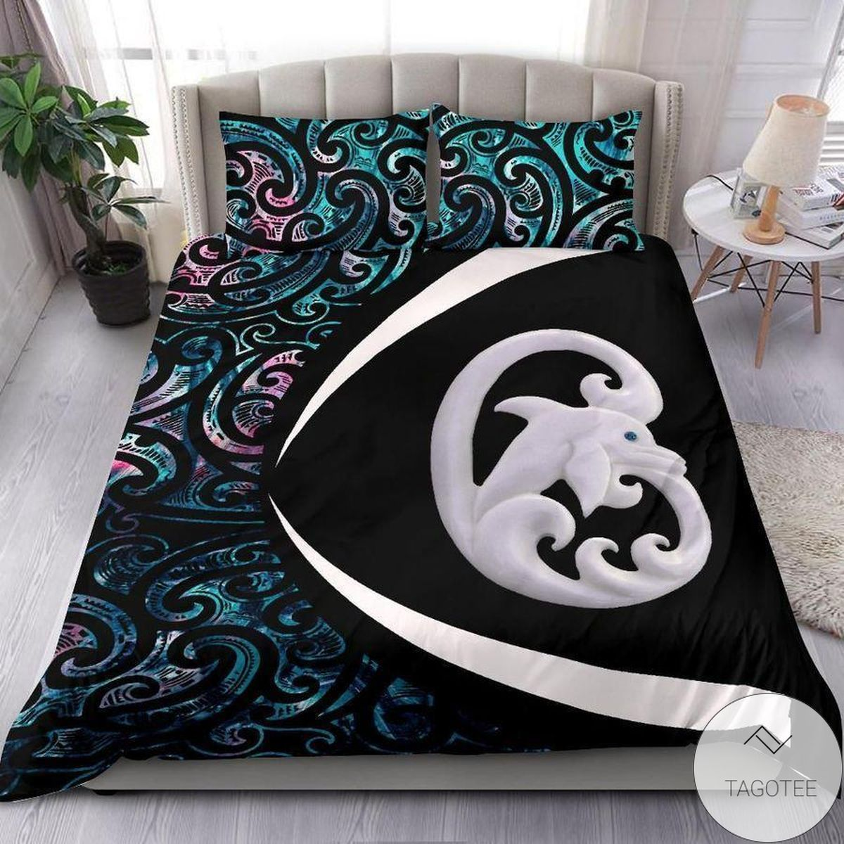 Manaia Maori Green Black Bedding Set