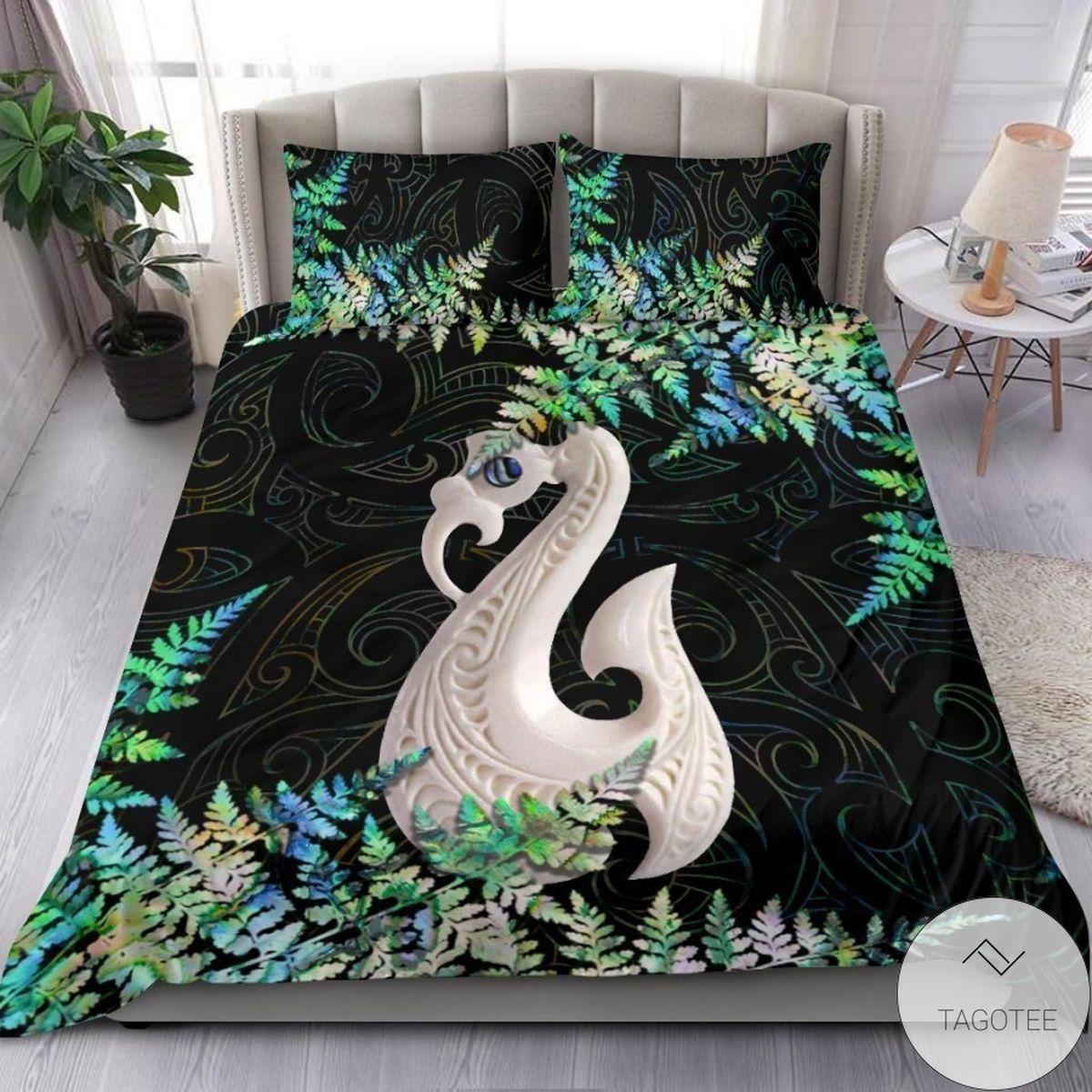 Manaia Maori Green White Bedding Set