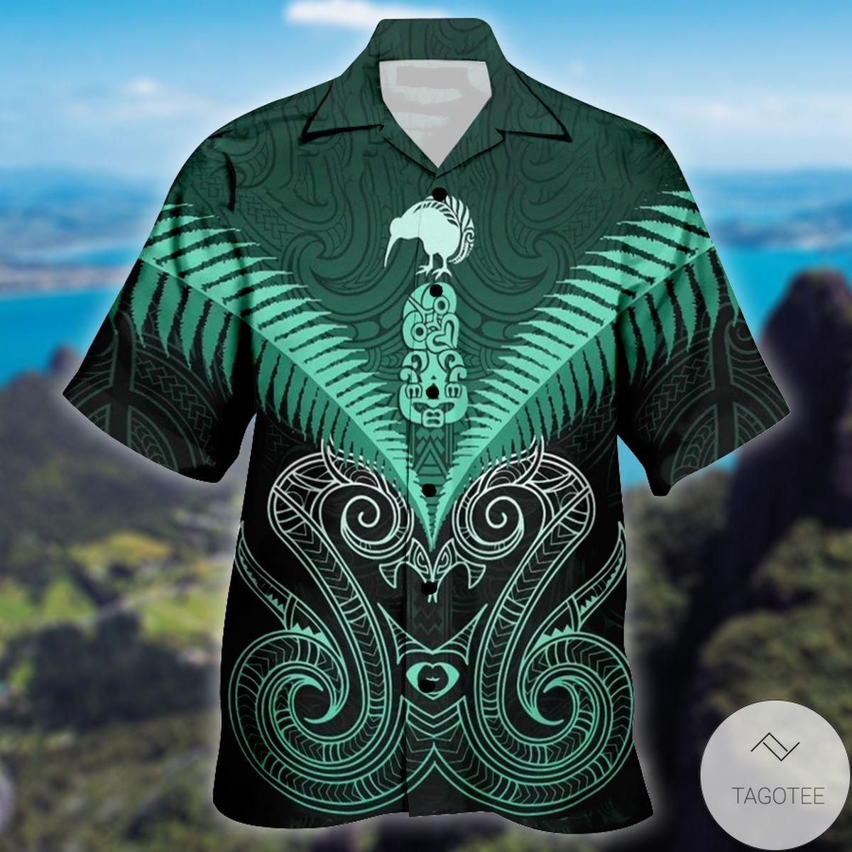 Maori Manaia New Zealand Green Hawaiian Shirt