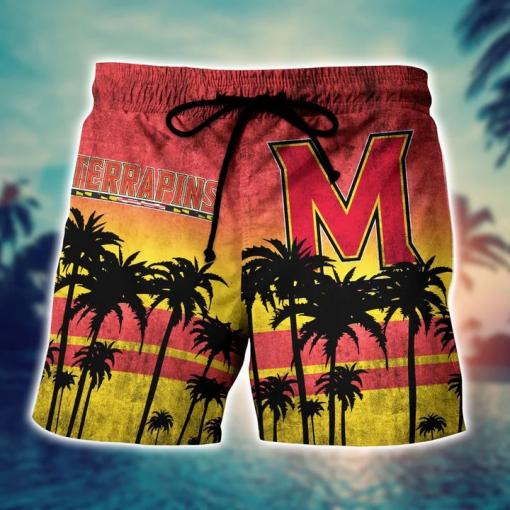 Maryland Terrapins Tropical Hawaiian Shirt, Beach Short a