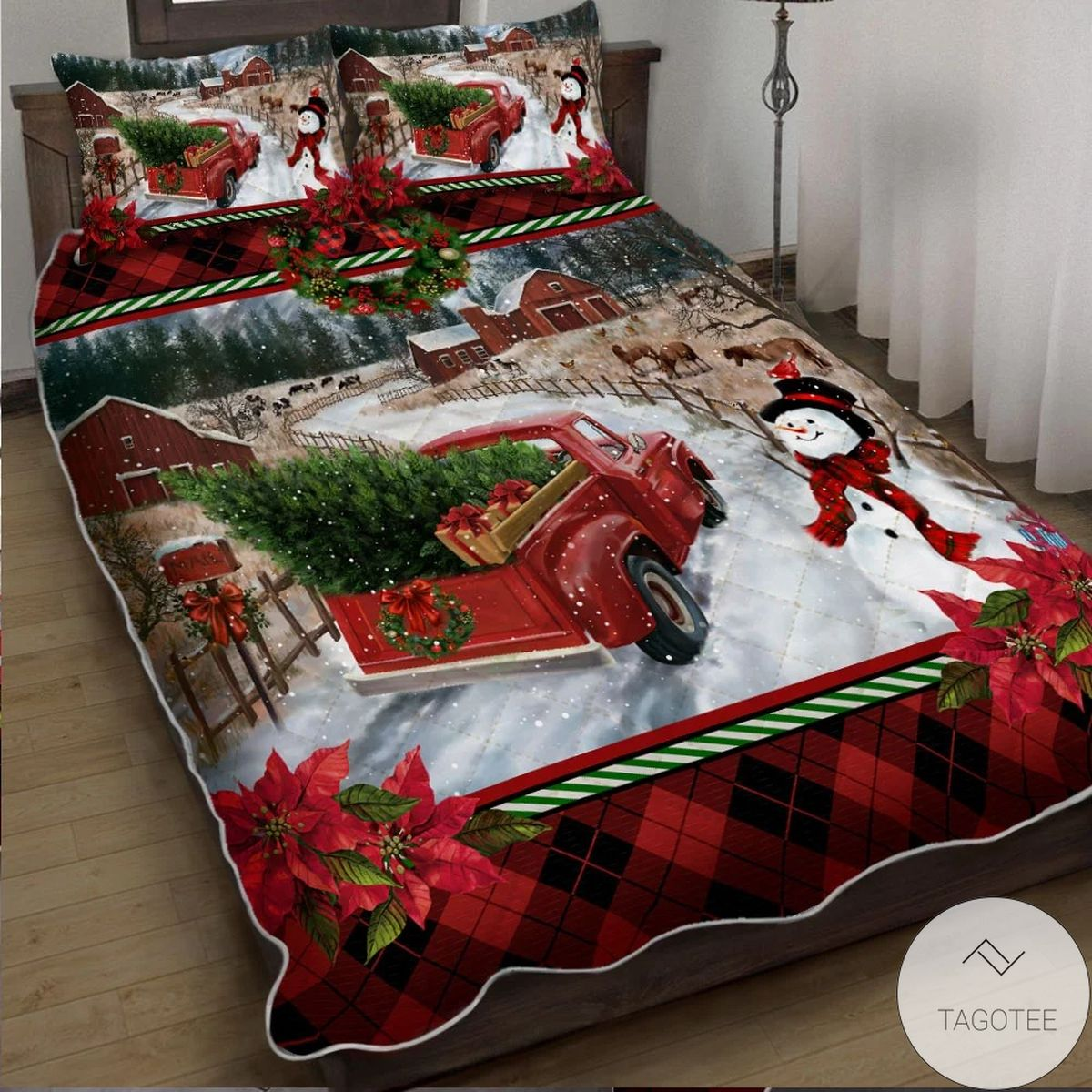 Real Merry Christmas Snowman Quilt Bedding Set