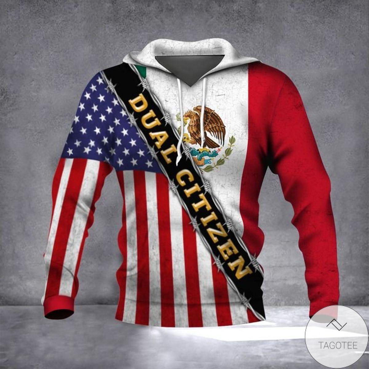 Mexico American Flag Dual Citizen Proud Mexican American Citizen Patriotic Hoodie