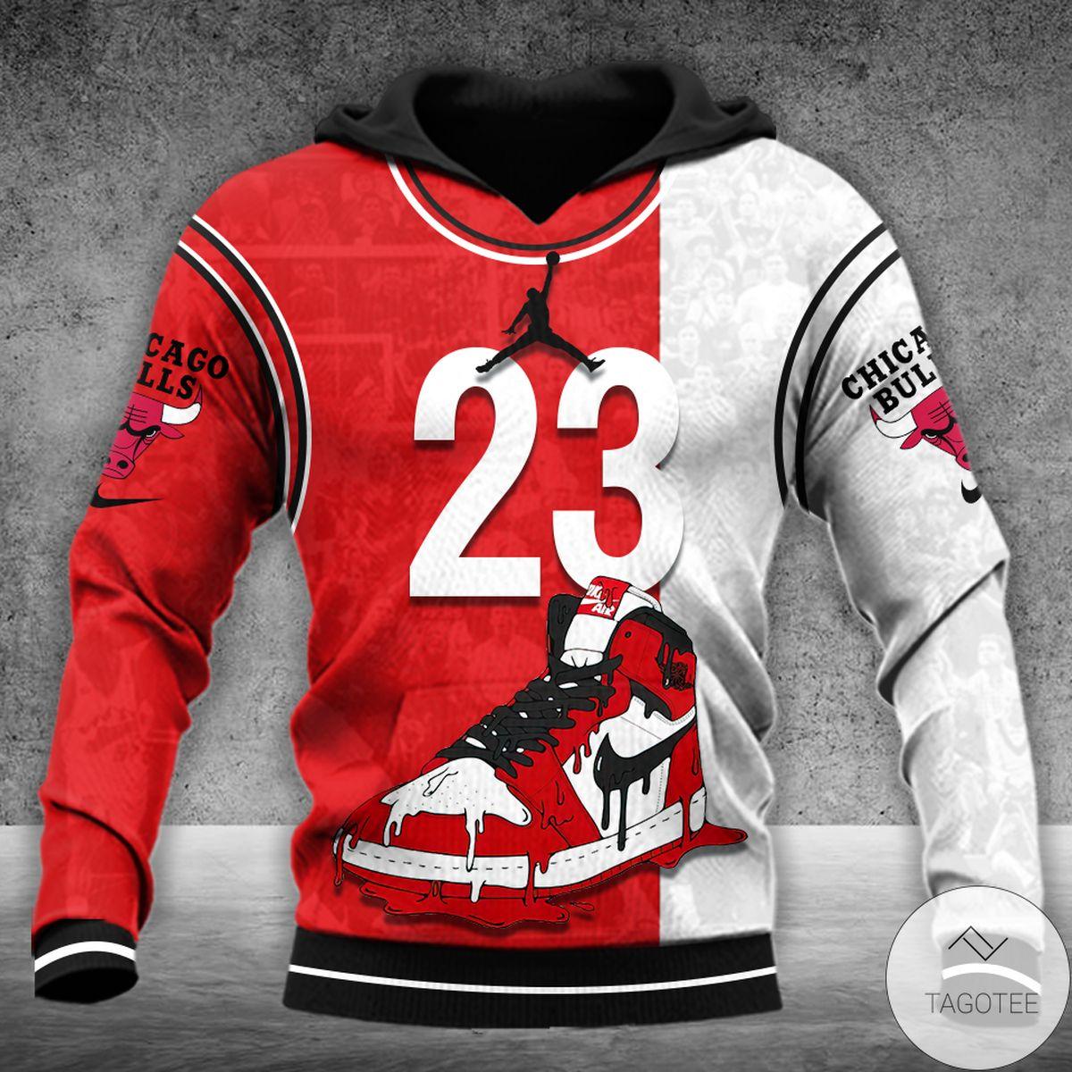 Michael Jordan 23 Red White Hitting Man 3d Hoodie
