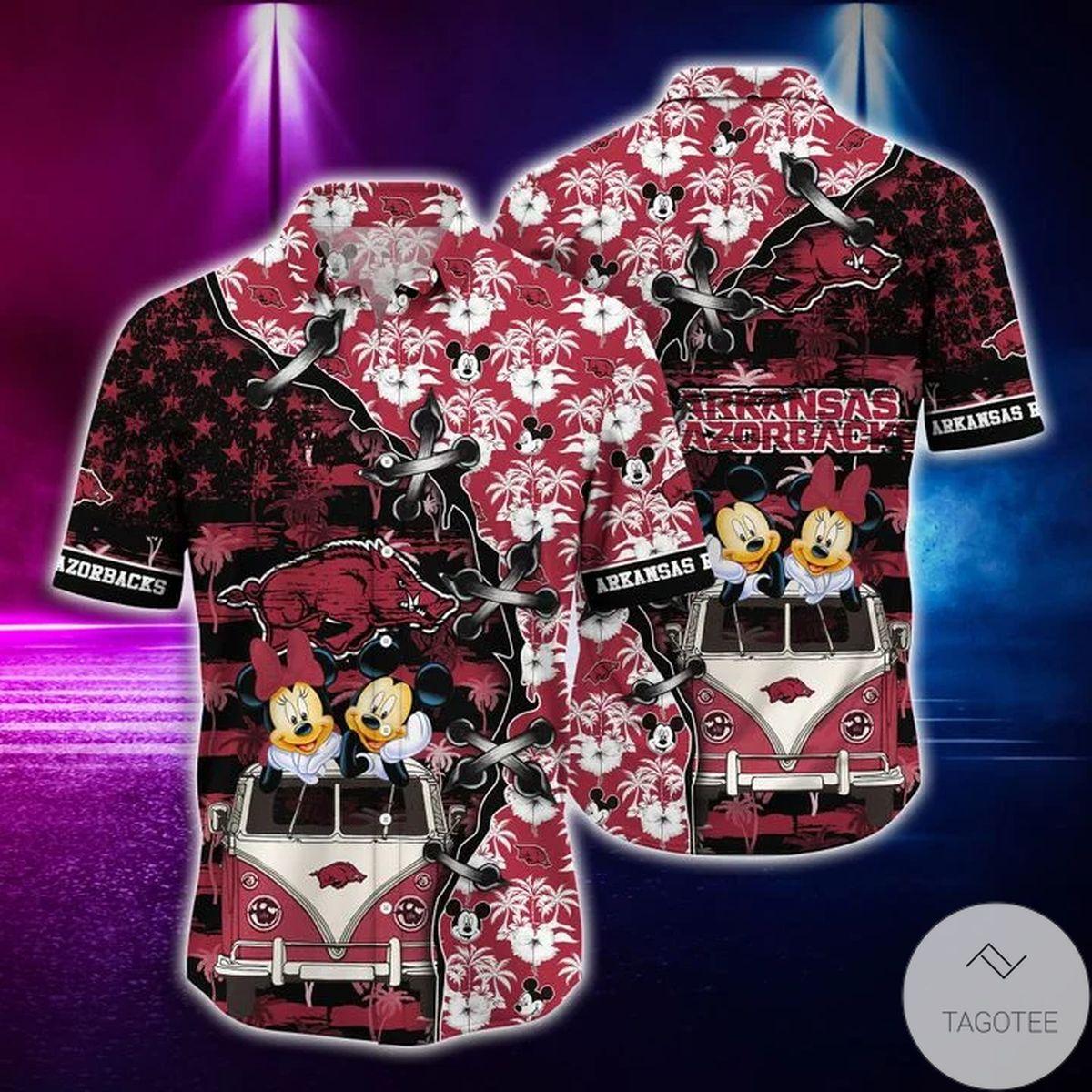 Mickey Mouse Arkansas Razorbacks NCAA Hawaiian Shirt