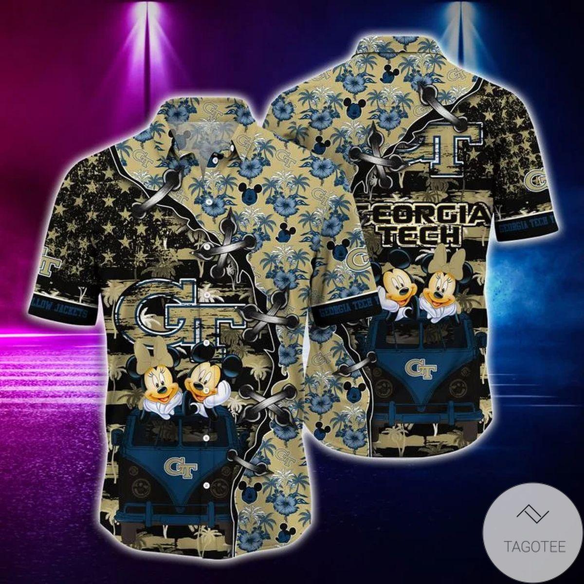 Mickey Mouse Georgia Tech Yellow Jackets NCAA Hawaiian Shirt