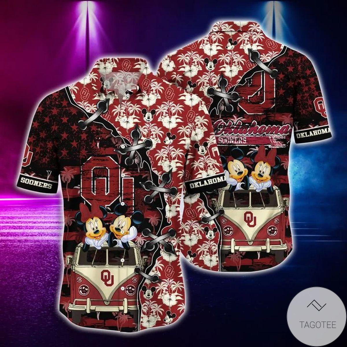 Mickey Mouse Oklahoma Sooners NCAA Hawaiian Shirt