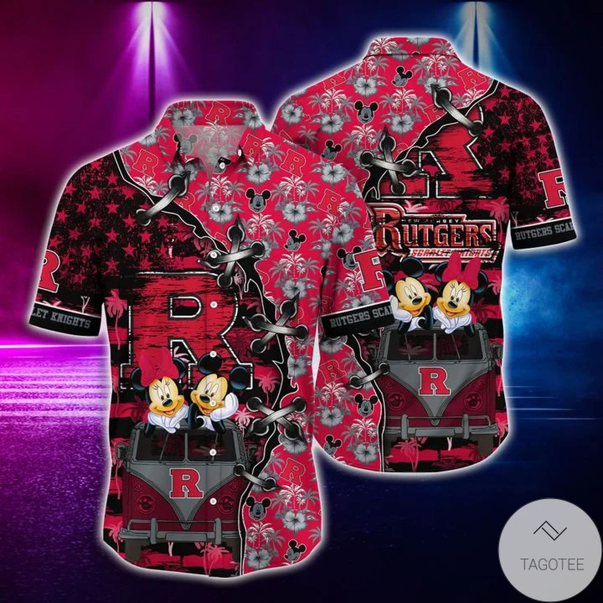 Mickey Mouse Rutgers Scarlet Knights NCAA Hawaiian Shirt