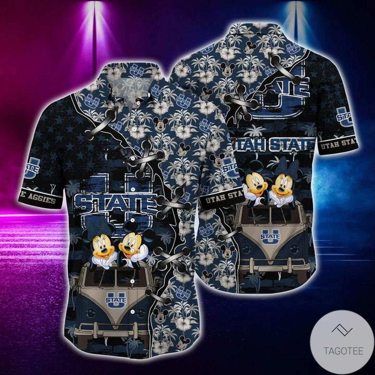 Mickey Mouse Utah State Aggies NCAA Hawaiian Shirt