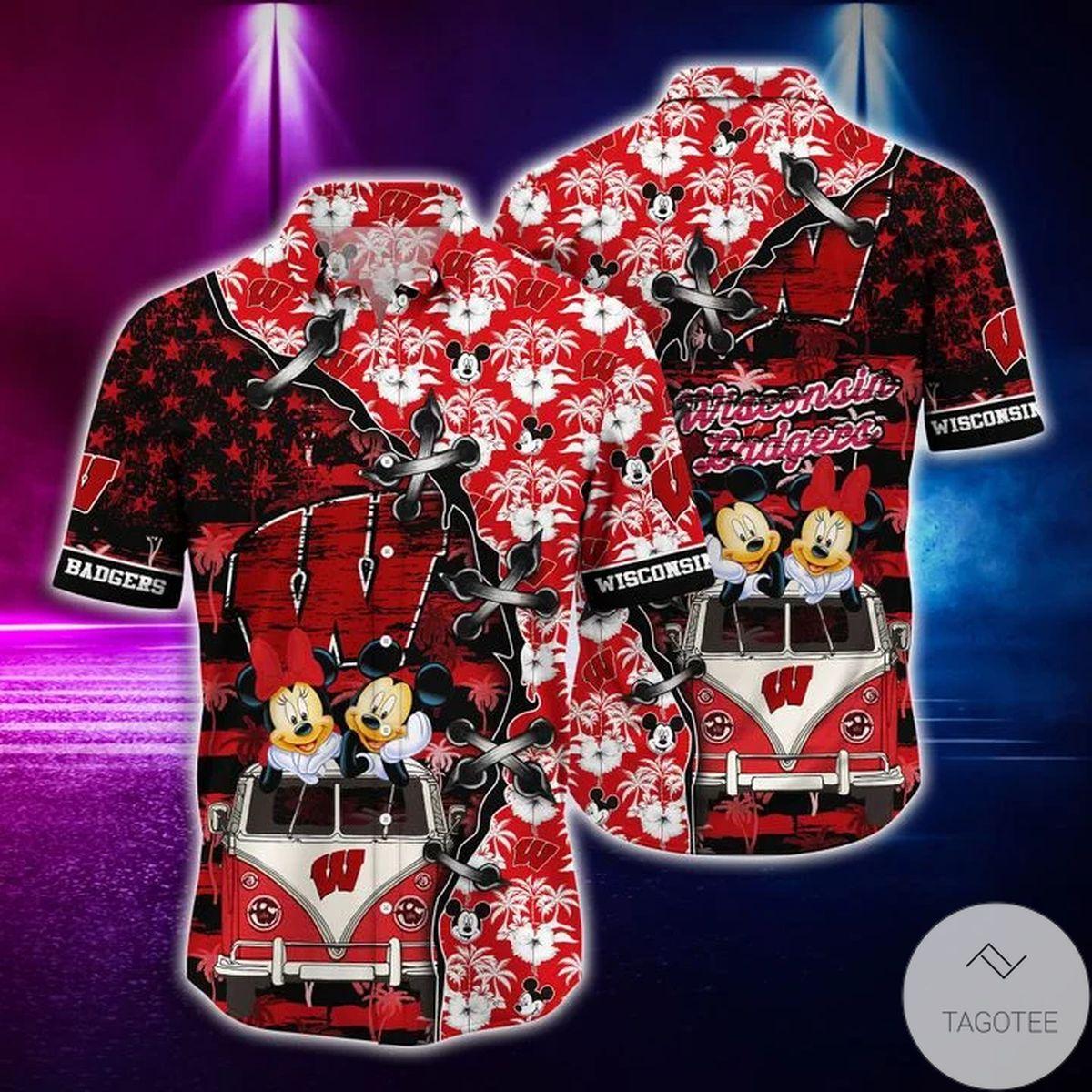 Mickey Mouse Wisconsin Badgers NCAA Hawaiian Shirt