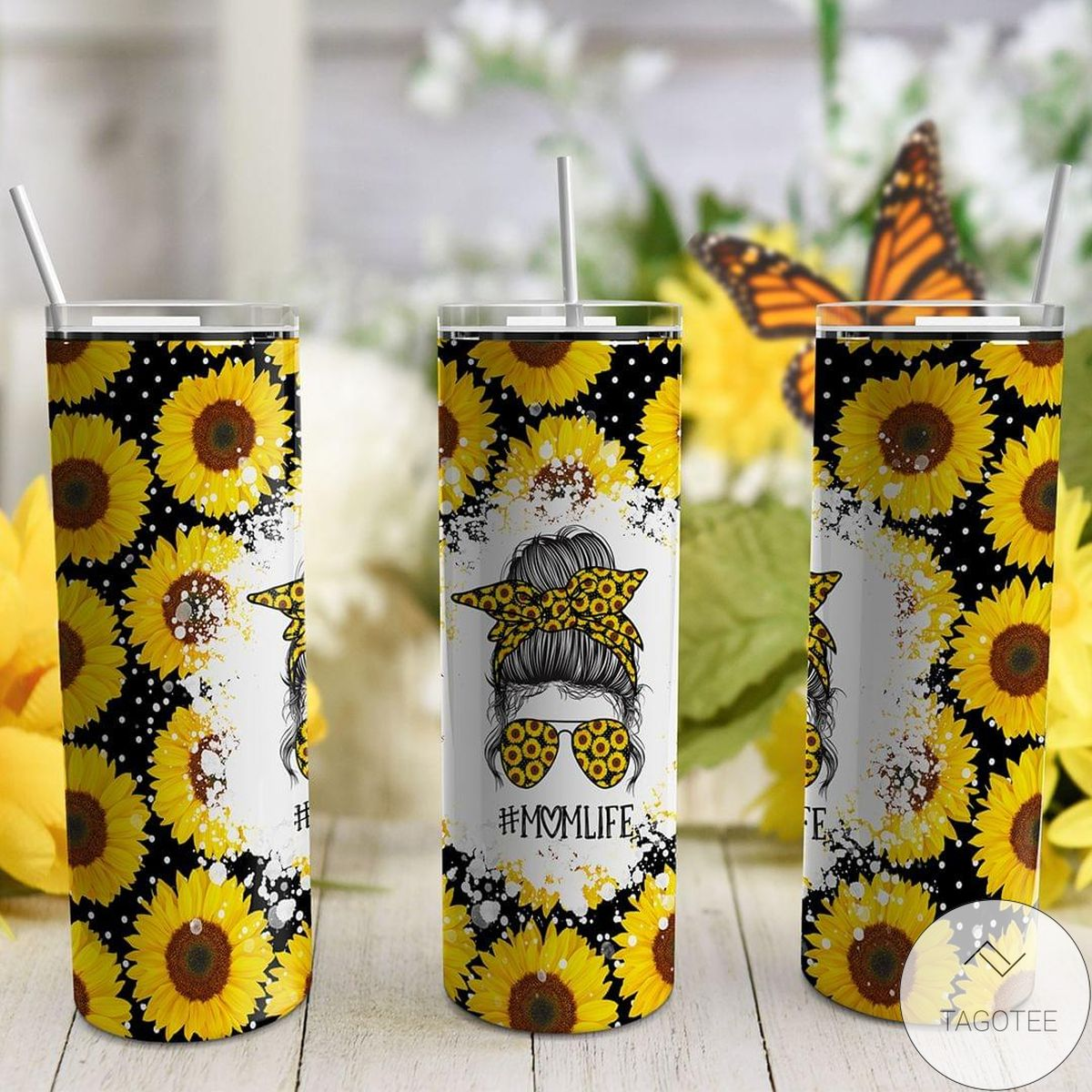 #Momlife Sunflowers Skinny Tumbler