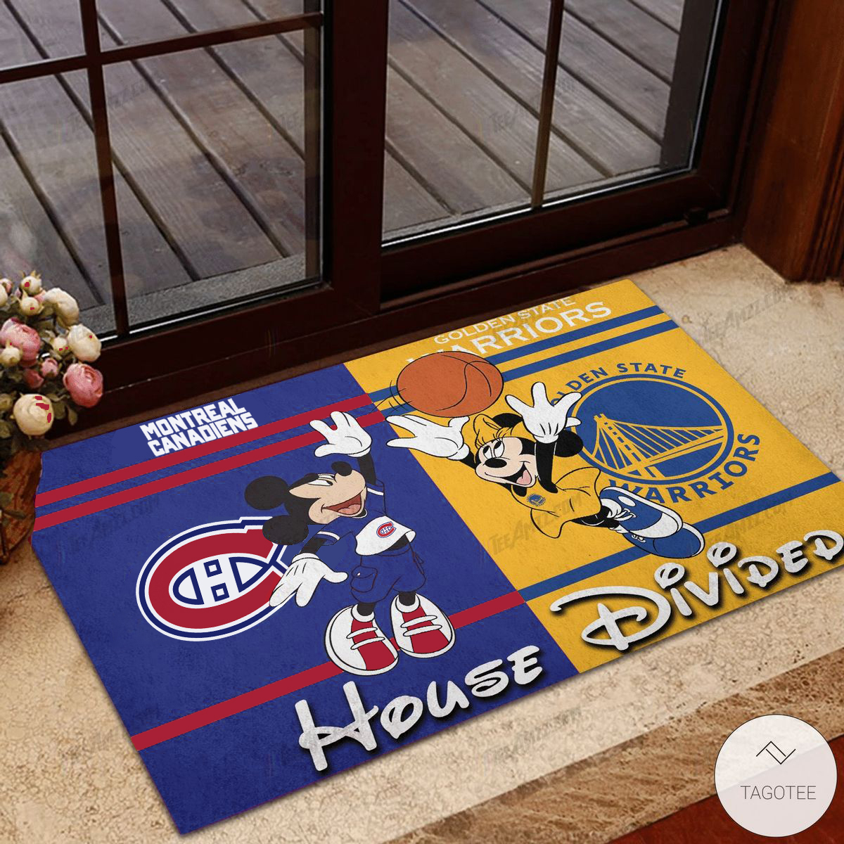 Montreal Canadiens House Divided Golden Warriors Mickey Mouse And Minnie Mouse Doormat