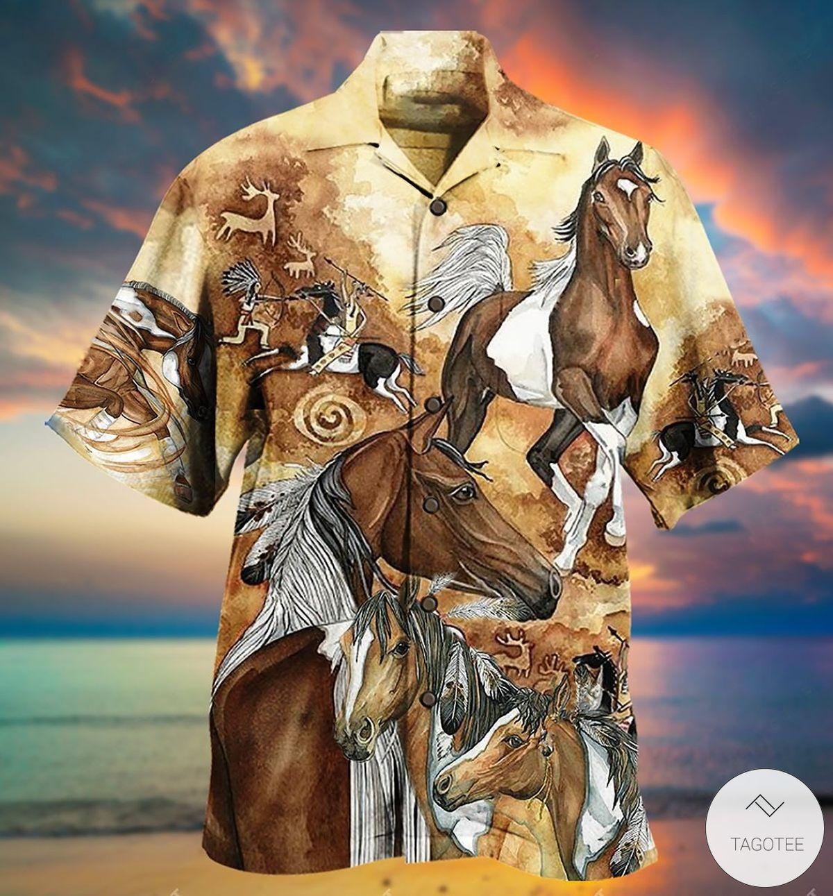Native American Horse Vintage Hawaiian Shirt