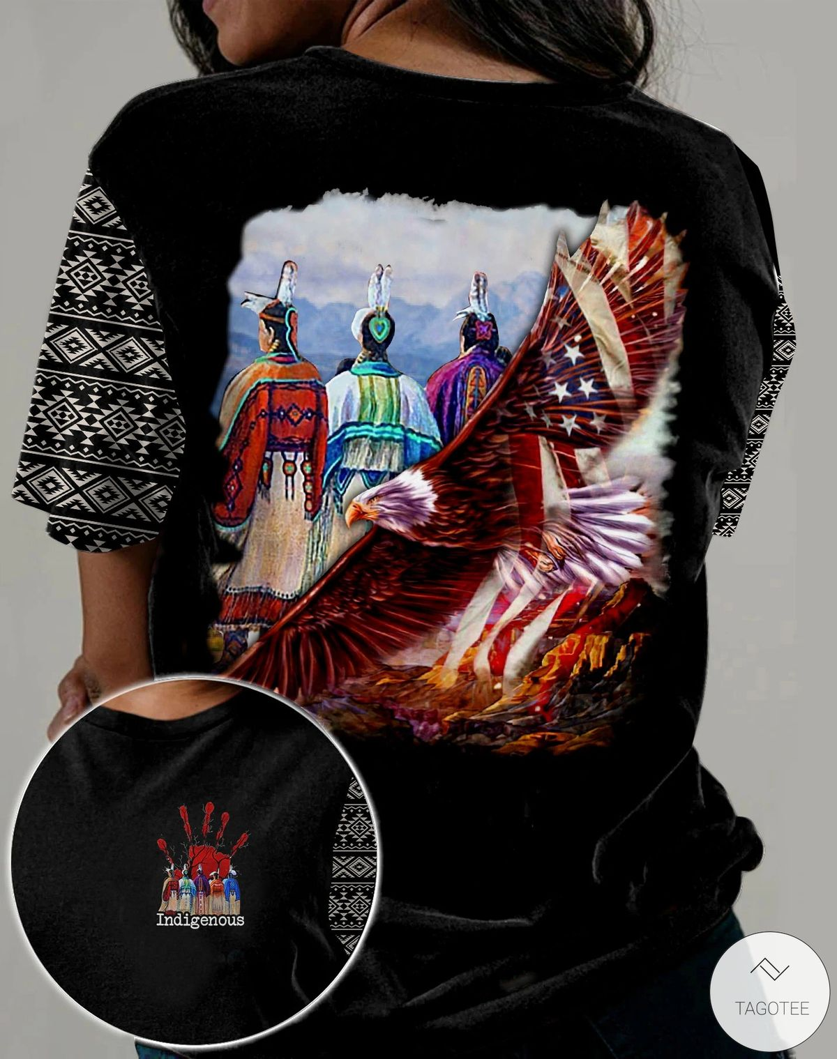 Native Indigenous American Eagle 3D All Over Print T-shirt, Hoodie