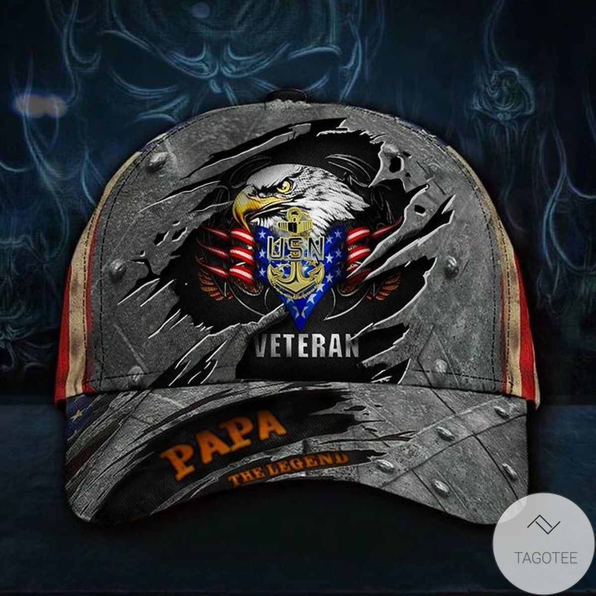 Navy Veteran Papa Legend 3D Hat USA Flag Cap Vintage USN Father's Day Gift For Grandpa