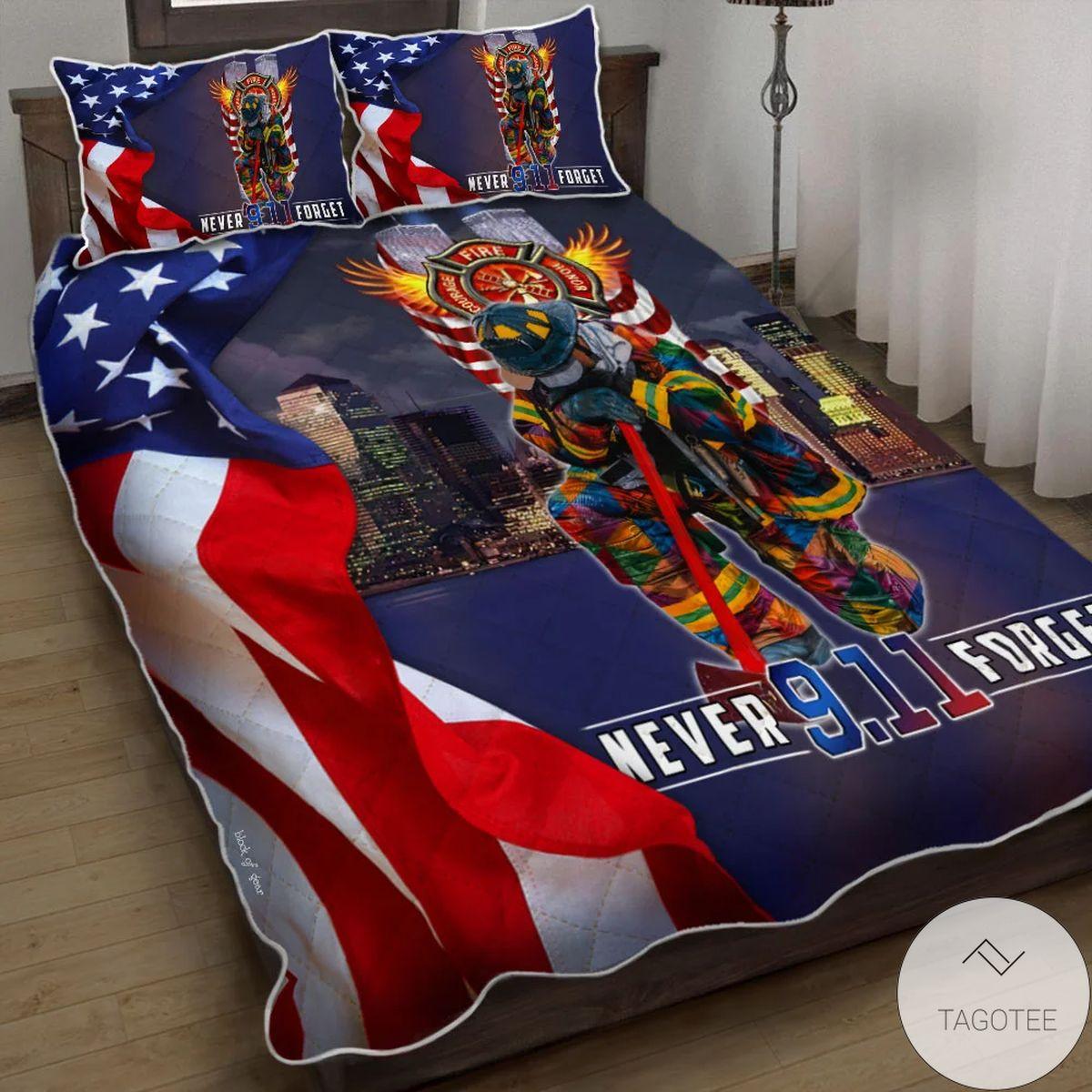 Never Forget September 9.11 Quilt Bedding Set