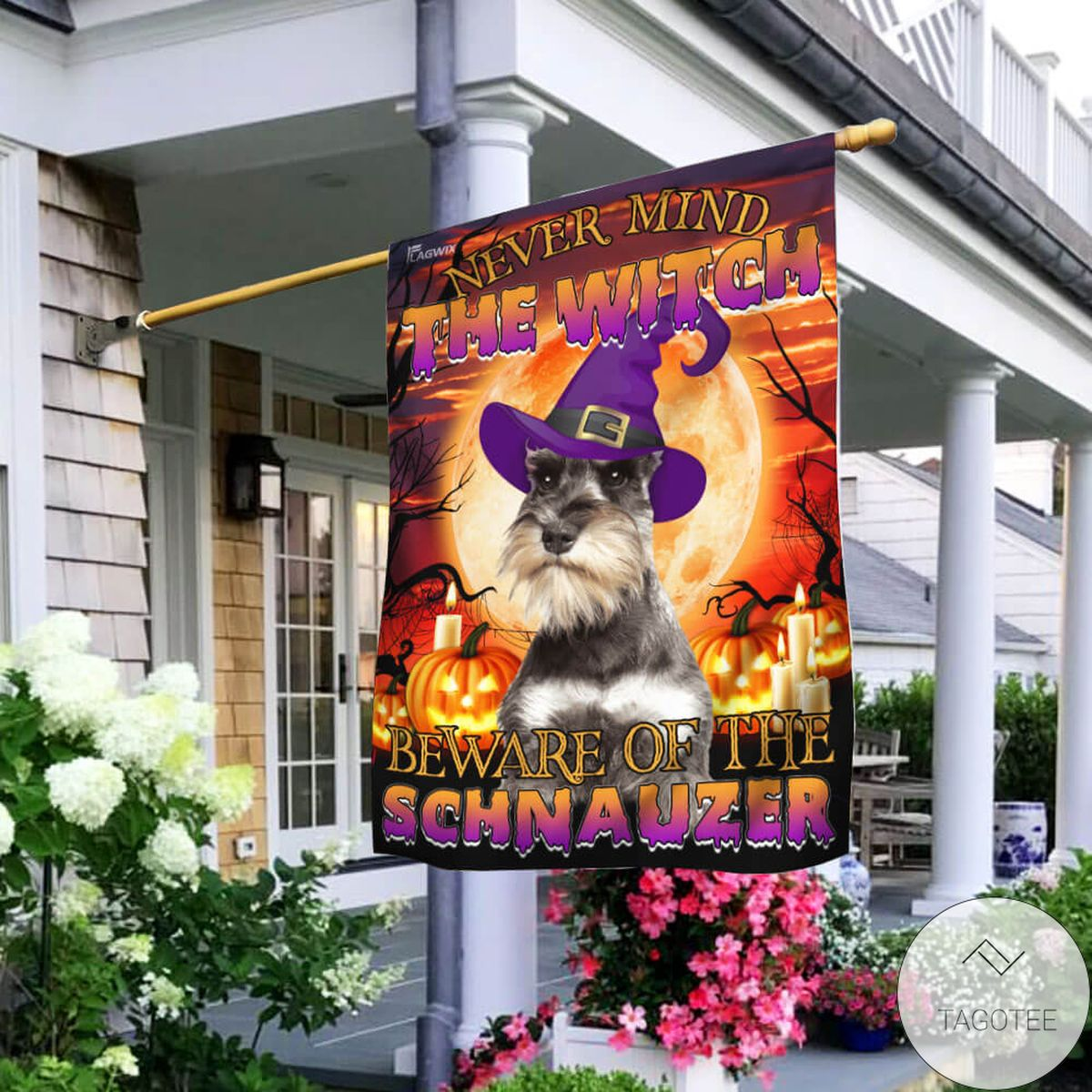 Mother's Day Gift Never Mind The Witch Beware Of The Schnauzer Flag