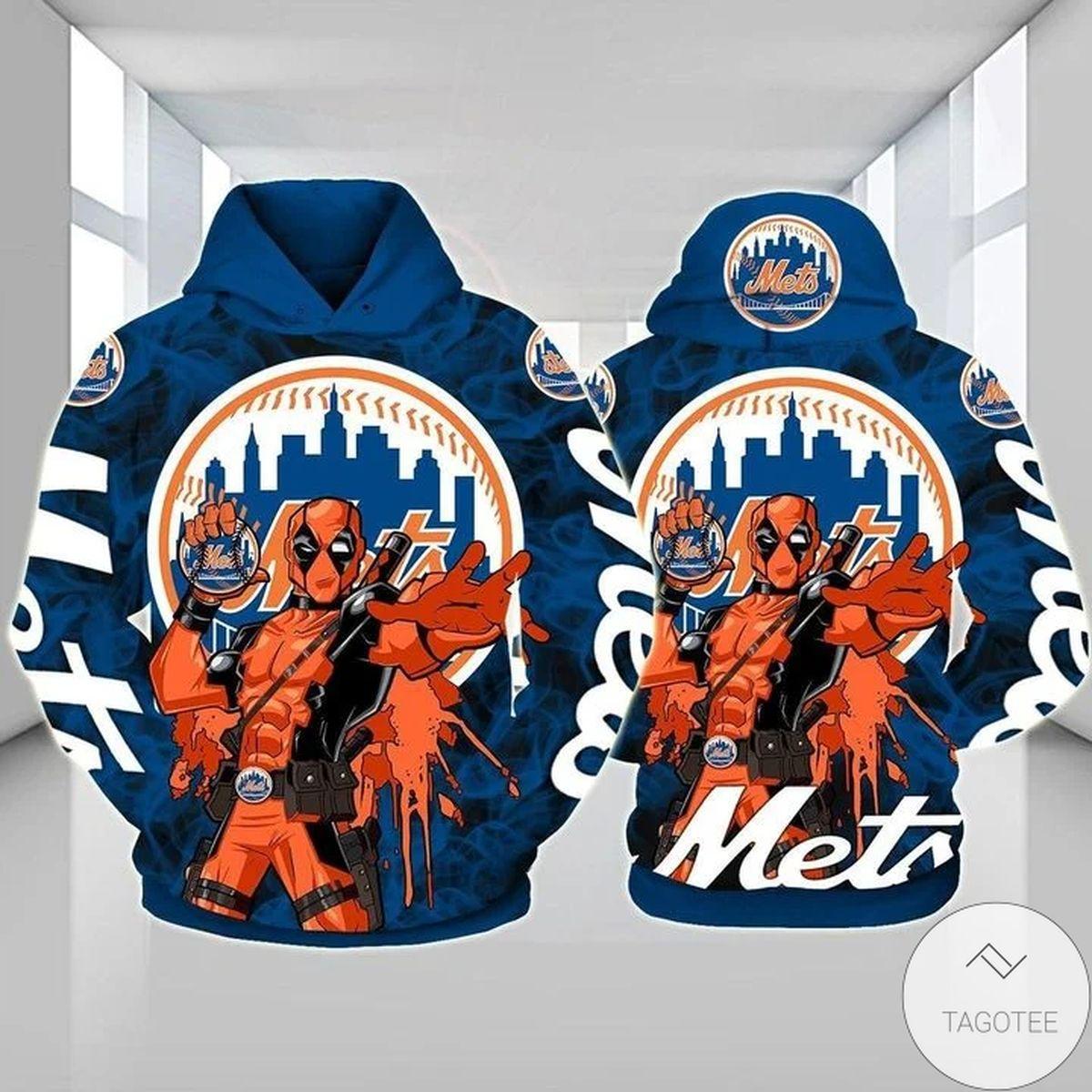 New York Mets Deadpool 3D Hoodie