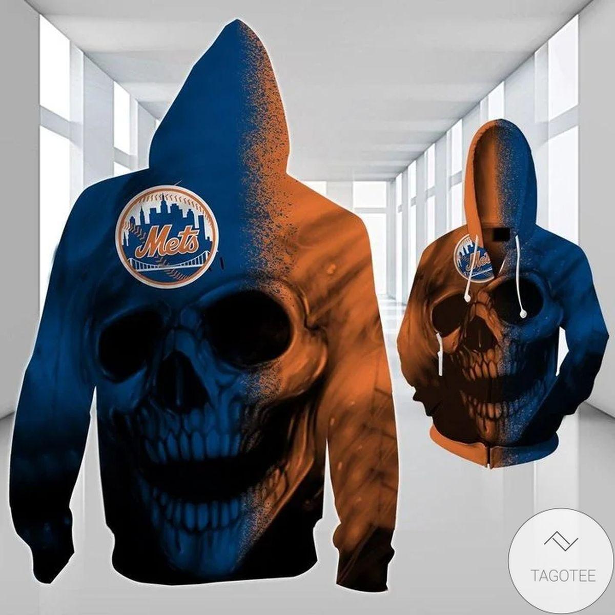 New York Mets Skull 3D Hoodie