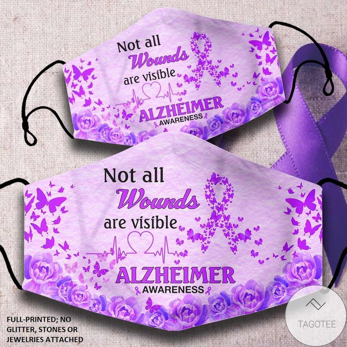 Not All Wounds Are Visible Alzheimer Awareness Face Mask