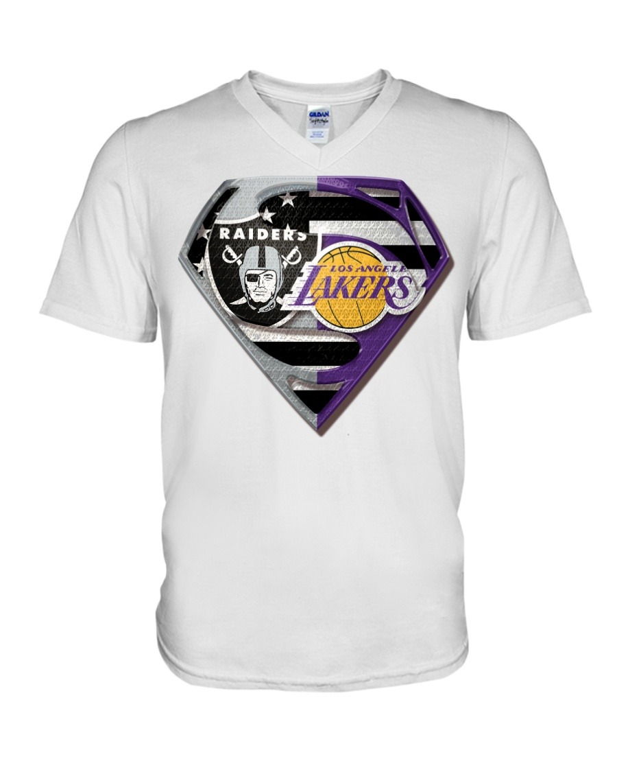 Oakland Raiders and Los Angeles Lakers Super Team V-neck