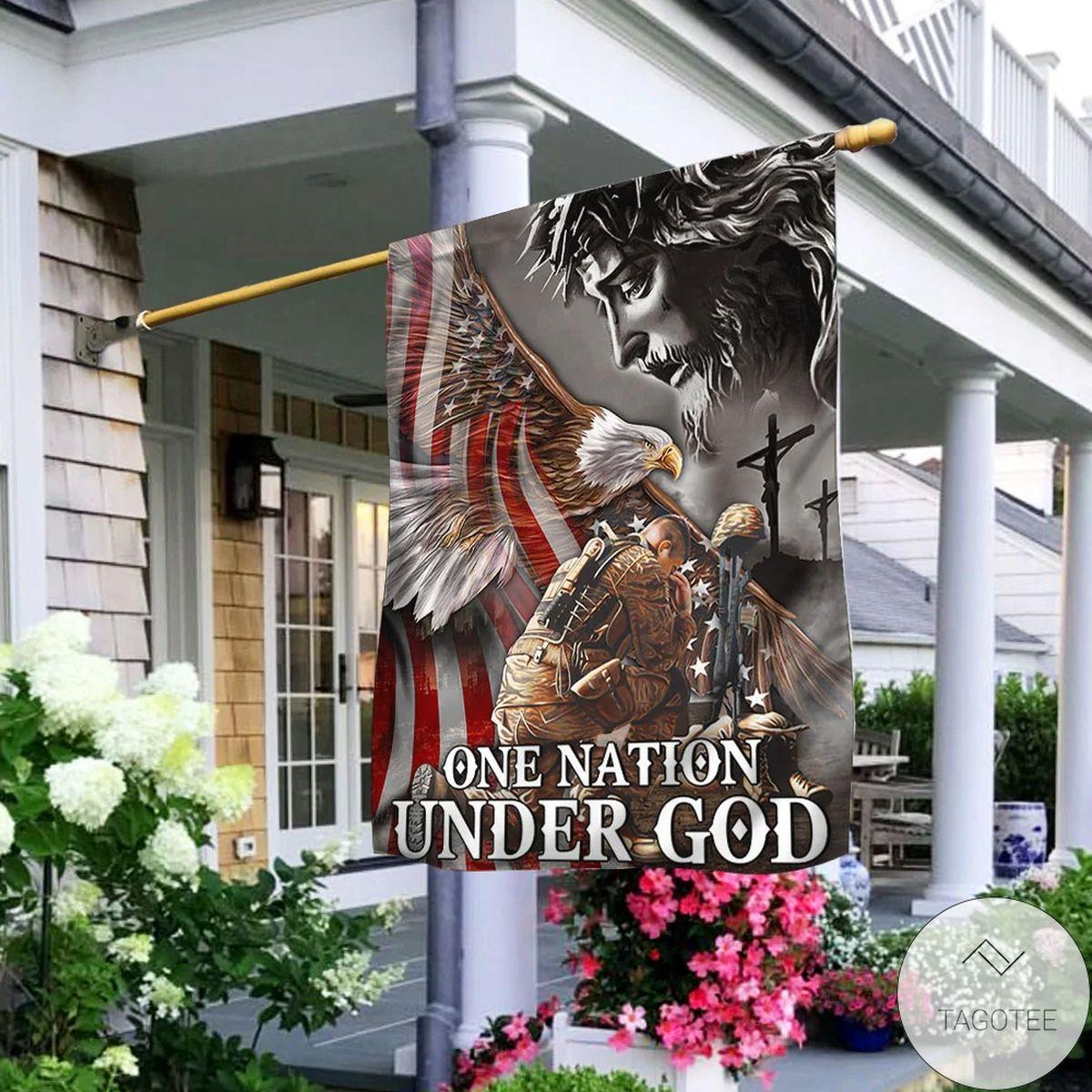 One Nation Under God Eagle American Veteran Flag