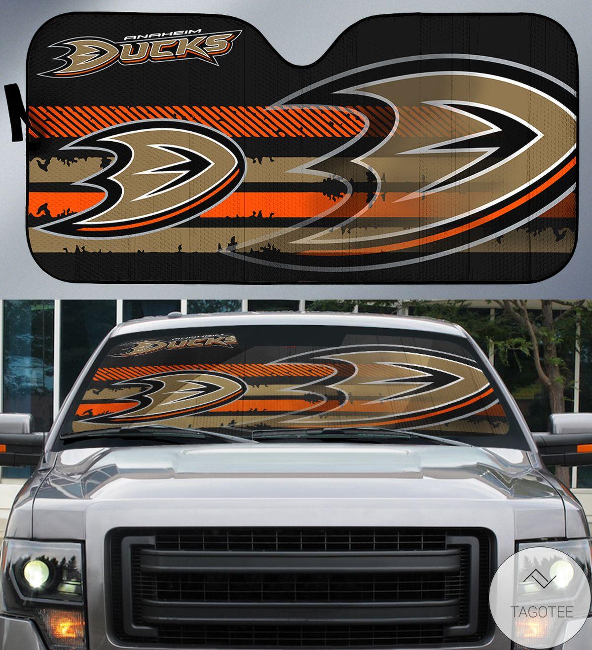 Orange Brown Anaheim Ducks Branded Universal Car Auto Sun Shade