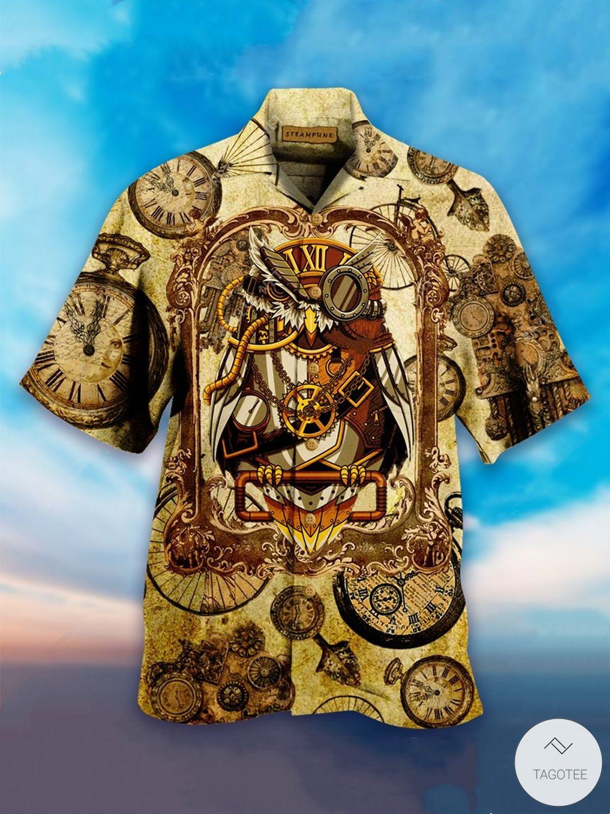 Owl Steampunk Clock Hawaiian Shirt