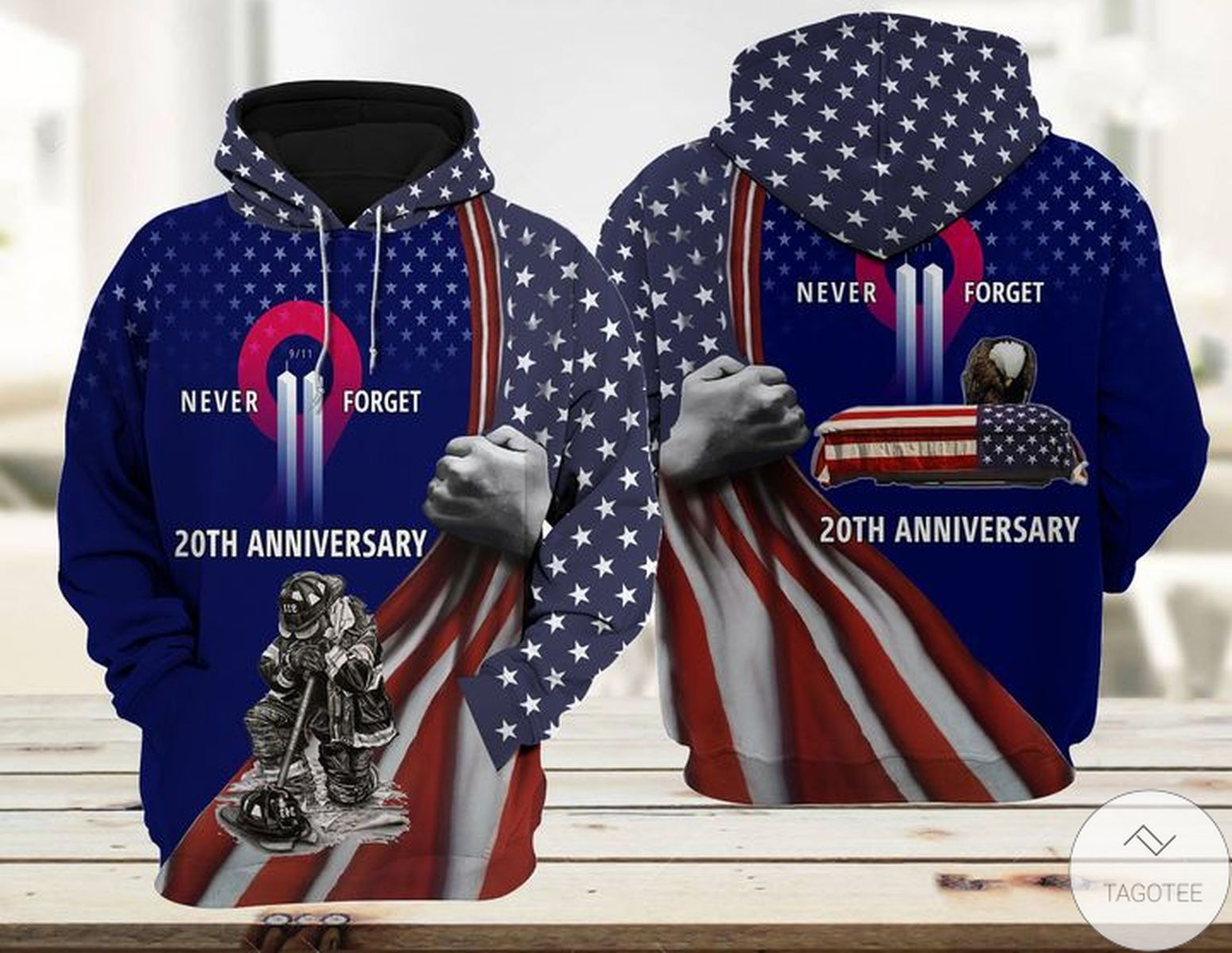 Patriot Firefighter 911 20th Anniversary Never Forget Hoodie