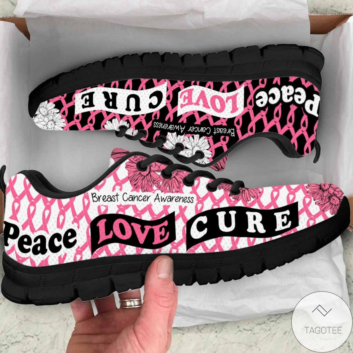 Peace Love Cure Breast Cancer Awareness Sneakers